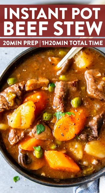 This Instant Pot Beef Stew recipe is an easy, comforting dinner that's quick to put together in the pressure cooker! With plenty of vegetables, tender beef and the best gravy you'll ever taste. | #instantpotrecipes #instantpot #beefstew #easydinner #dinnerrecipes #dinner #easyrecipes #recipe #beef #beefrecipes #stew #stewrecipe #healthyfood #healthyeating #healthyrecipes