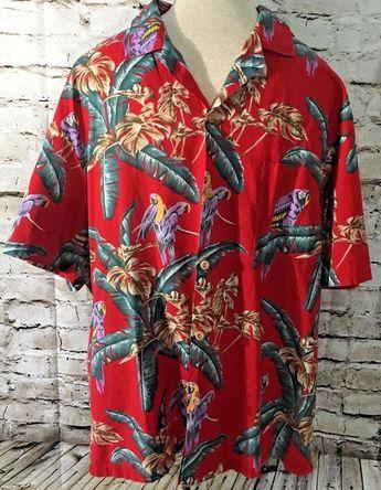 5c5b96d2a Paradise Found Magnum PI Jungle Bird Parrot Hawaiian Red Camp Shirt Aloha XL