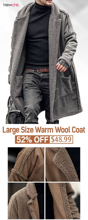 Plus Size Mid Length Double Side Wearable Thicken Fur Warm Wool Blend Coat For Men #jacket #outdoor #mensfashion