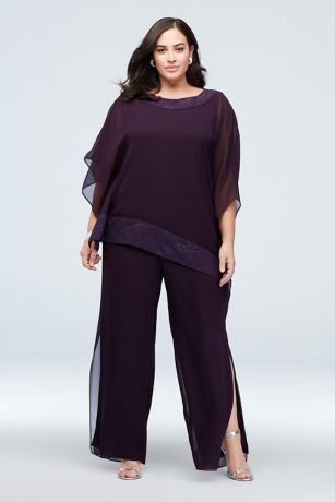 Georgette Plus Size Pantsuit with Asymmetric Top Style 27652, Navy, 14W