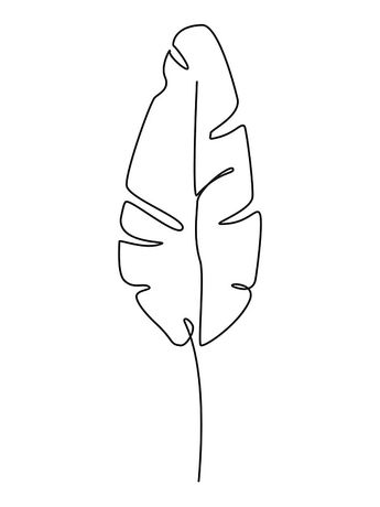 One line drawing. Contour drawing of Banana leaf. | Poster