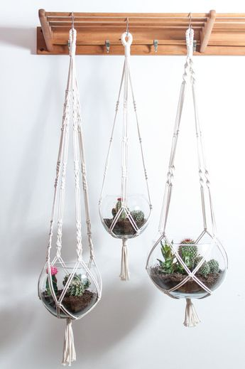 Macrame plant hangers - 3 versions