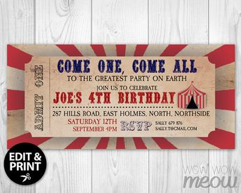 Circus CARNIVAL Vintage Ticket Invite Invitation Red by wowwowmeow