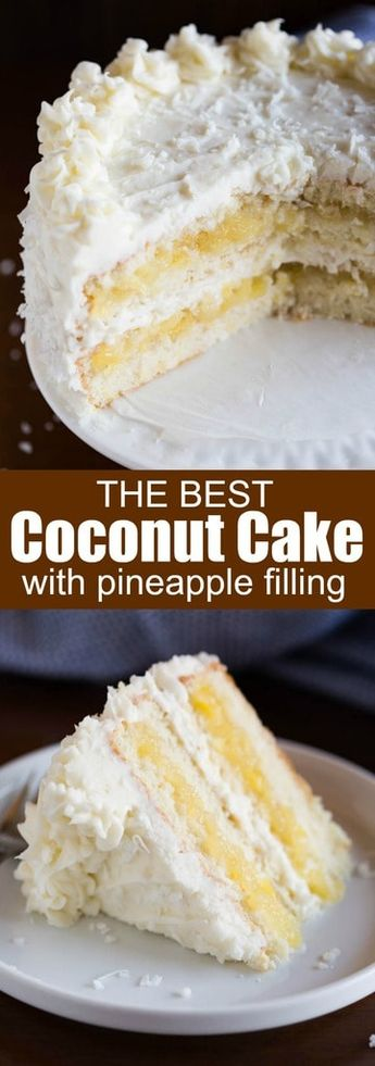 The most AMAZING Coconut Cake, with layers of tender, moist coconut cake, fresh pineapple filling, and whipped coconut cream cheese frosting that all pair together perfectly. #cake #coconut #pineapple #dessert