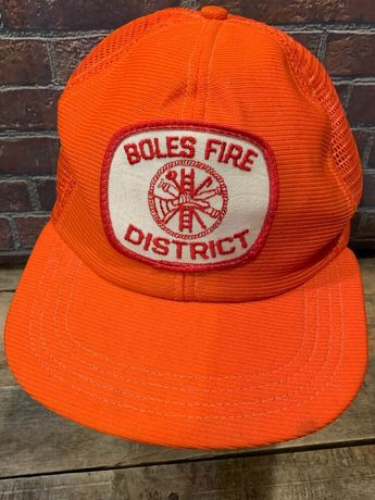 d2ac24cf8e1 Details about BOLES FIRE DISTRICT Vintage Trucker Made in USA Snapback  Adult Cap Hat