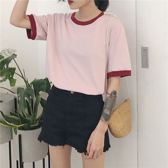 f7eea60653900d itGirl Shop OPEN HOLE CHEST COTTON BOW SHORT SLEEVE CROP TO