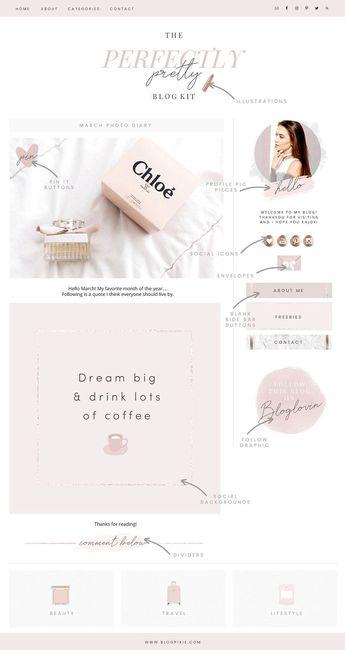 Pretty Blog Design Kit by Blog Pixie on @creativemarket