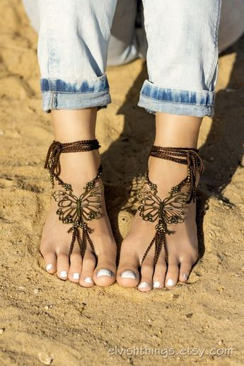 f42a5ed79f3e9 Butterfly barefoot sandals Bare foot jewelry Beach wedding Footless sandals  Yoga jewelry Bottomless