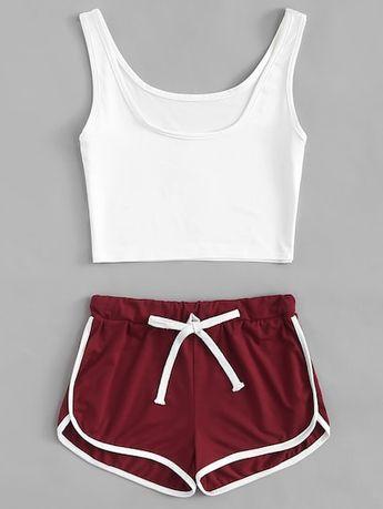 0717340747 Water Color Shirred Waist Ringer Shorts
