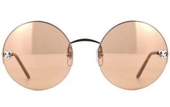 3e77336a67d Cartier Panthère 58mm Round Semi Rimmed Metal Sunglasses CT0022S-003