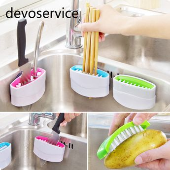 2017 New Arrival  Multi-functional Sucker Cutlery Cleaner Knife Fork Spoon Cleaning Brush  For Vegetable Fruit Kitchen Helper