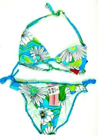 096d36213b Details about CIA. MARITIMA 2 Piece Bikini Floral Blue White Green Tie Size  Brazil Large