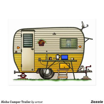 Aloha Camper Trailer Postcard | Zazzle.com