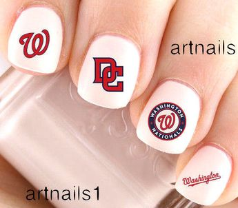 Dc Washington Nationals Nails Baseball Nail Art Waterslide Stickers Salon Polish