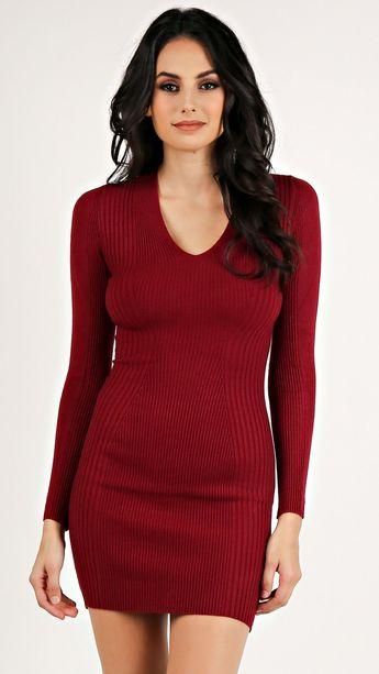 13de75bef61 Red Textured Long Sleeves Dress