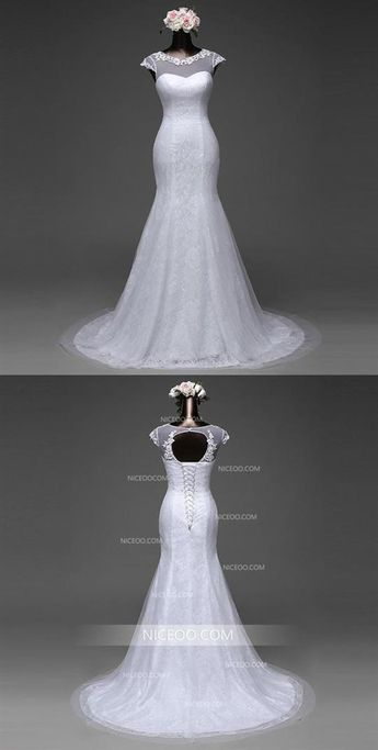 98abf4c58b5f3e White Mermaid Round Neck Sleeveless Cut Out Lace Wedding Dresses Best Bride  Gown