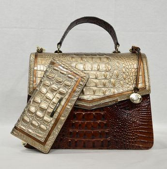 1342e842c Details about SET of Brahmin Arden Satchel/Shoulder Bag + Suri Wallet in  Gold Bel