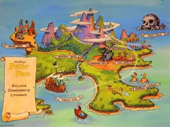 Map Of Neverland Illustrated Fantasy Map Home Decor