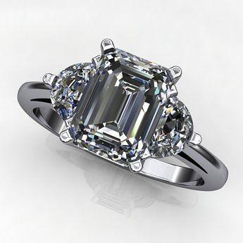 cc60f94e5b6983 ava ring - 1.75 carat emerald cut NEO moissanite engagement ring, half moon  side stones