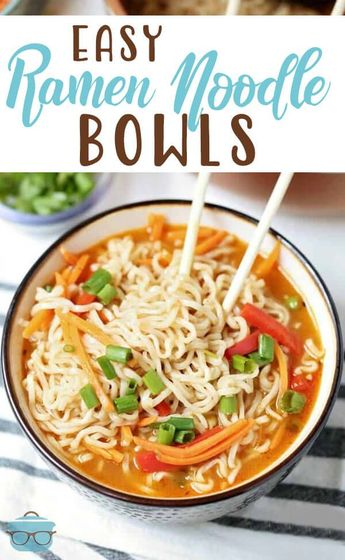 Easy Ramen Noodle Bowls are the perfect healthy alternative to the classic store bought ramen you've always enjoyed.  This quick, easy and healthy homemade recipe will be a family fave in no time!  #EasyRamenNoodleBowls #easydinner
