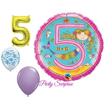 5th Birthday Balloons Girl Mermaid Party Under The Sea 5 Years Old