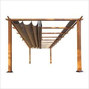 11 x 16 ft. Verona Aluminum Pergola (Canadian Wood / Cocoa Canopy)
