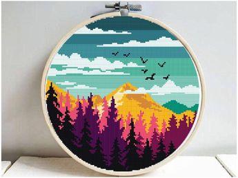 Landscape Modern Cross Stitch Pattern, by StitchingFairy on Zibbet