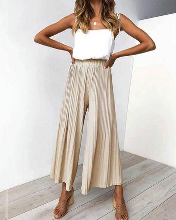 Casual Fashion Plain Wide-Leg 3/4 Pants