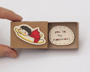 """Funny Superman Love Card/ Anniversary Card/ """"You are my superman"""" Matchbox / Gift box / Message box"""
