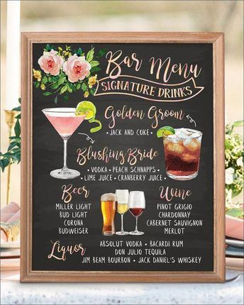 Digital Printable Botanical Wedding Bar Menu Sign, His and Hers Signature Drinks Cocktails Signs, Chalkboard Christmas New Year IDM20