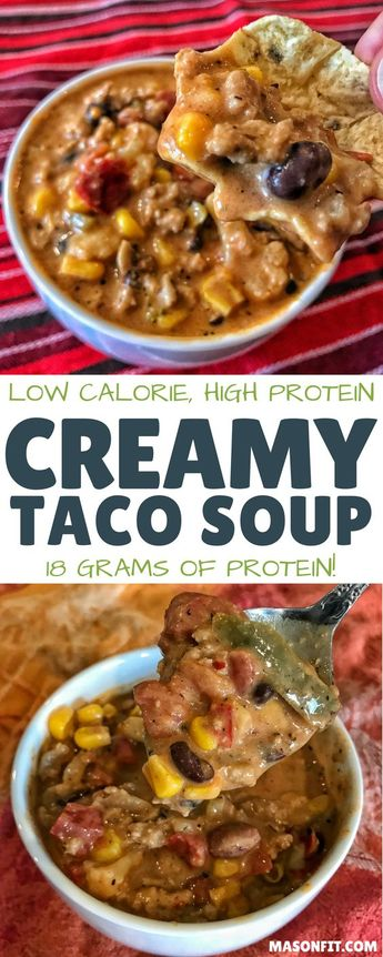 A low calorie, high protein taco soup recipe with tons of veggies, nutrients, and flavor. It's super simple, requires nearly zero skills in the kitchen, and takes no time at all to prepare. via @masonfitdotcom