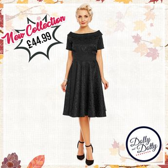 59a49529690 Venus Van Chic Darlene Retro Jacquard Swing Dress in Black