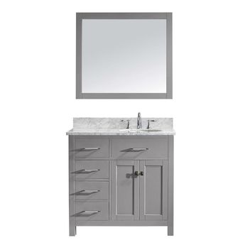 Virtu USA Caroline Parkway 36 in. W Bath Vanity in Cashmere Gray with Marble Vanity Top in White with Round Basin and Mirror-MS-2136L-WMRO-CG