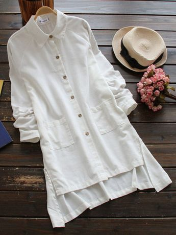 Casual Pure Color Irregular Long Sleeve Lapel Shirts For Women Cheap - NewChic Mobile