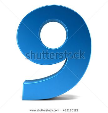 Number Nine in  White Background. 3D Rendering Illustration