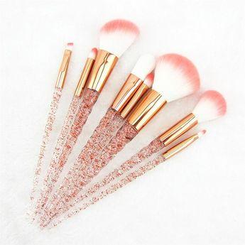 8pcs Red Glitter Unicorn Brush Set
