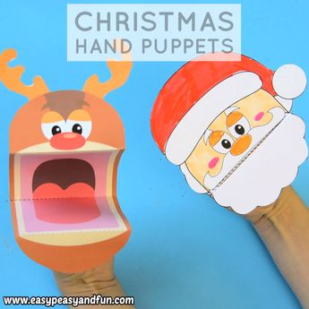 Printable Christmas Puppets - Santa, Elf and Reindeer Rudolph