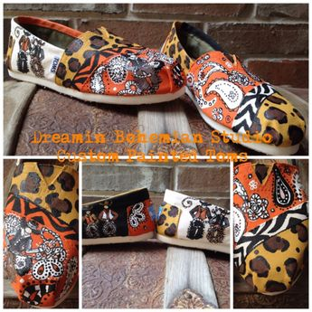 Cowboy Western Hand Painted TOMS included in this listing with zebra and cheetah print.  by dreaminbohemian on Etsy