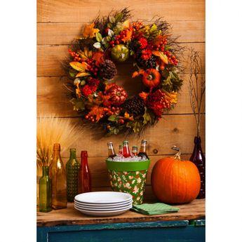 Pumpkins and Pinecones Outdoor Wreath