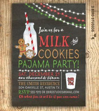 Milk and cookies invitation - Christmas cookies exchange invitation- Cookies & Milk birthday party invite - Milk and cookies pajama party