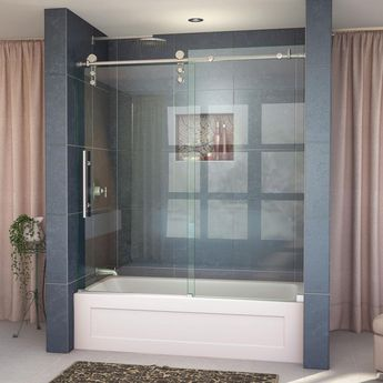 DreamLine Enigma-Z 55 to 59 in. W x 62 in. H Frameless Sliding Tub Door in Brushed Stainless Steel-SHDR-6260620-07