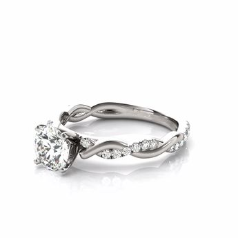 A petite infinity cathedral diamond halo engagement ring setting for the diamond of your choice.