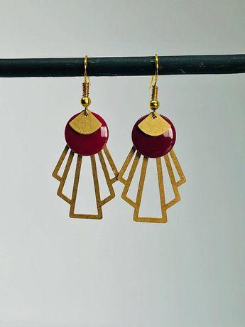 Sequin - retro - enameled gold - earrings