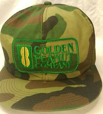 $29.96 OR BEST OFFER K Products Patch Mesh Trucker Hat Golden Peanut Company Snapback Camo Cap USA   #KProducts #TruckerHat #peanut