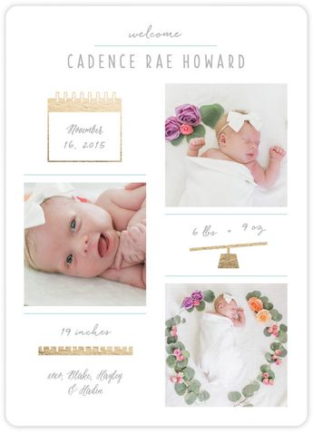 Send the sweetest announcement to your loved ones once your bundle of joy has arrived with a birth announcement from Minted.  Image courtesy of Happily Hayley.