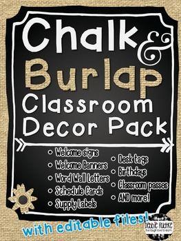 Chalkboard Burlap Theme Editable Classroom Decor Pack