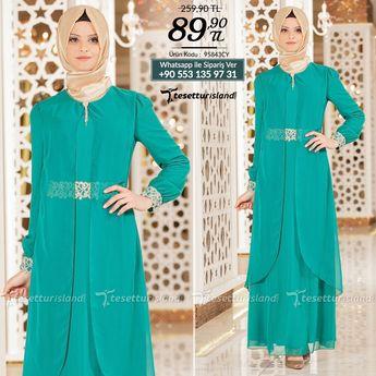 6b1e71b64ba8a Nayla Collection - Tüllü Dantel Detaylı Yeşil Elbise #tesettur  #tesetturabiye #tesetturgiyim #tesetturelbise