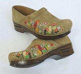 Details about Dansko Professional Floral Embossed Brown Clogs Size 37