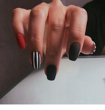 Black, red and stripes nails | Inspiring Ladies