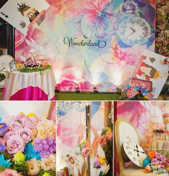 So amazed by this watercolor Alice in Wonderland themed wedding decor!
